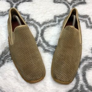 Donald Pliner Tan Perforated Suede Loafers 11 M